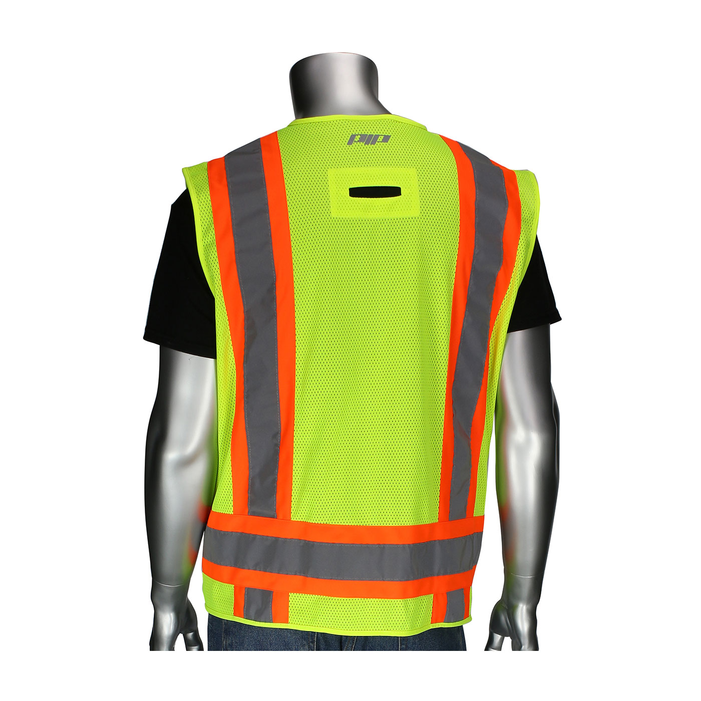 302-0500D PIP® ANSI Type R Class 2 Two-Tone Eleven Pocket Surveyors Vest with Solid Front, Mesh Back and `D` Ring Access