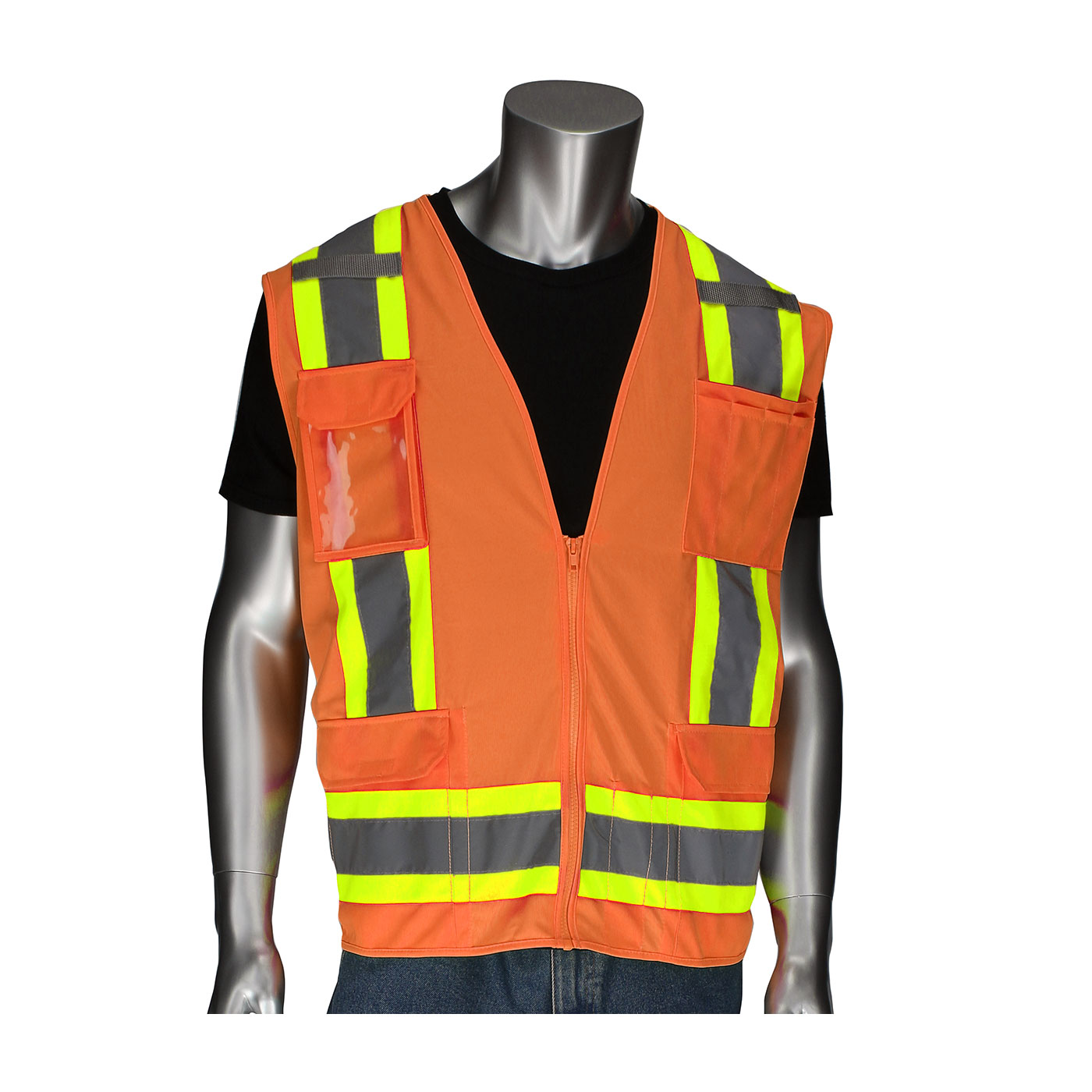 302-0500D PIP® ANSI Type R Class 2 Two-Tone Eleven Pocket Surveyors Vest with Solid Front, Mesh Back and `D` Ring Access - Orange
