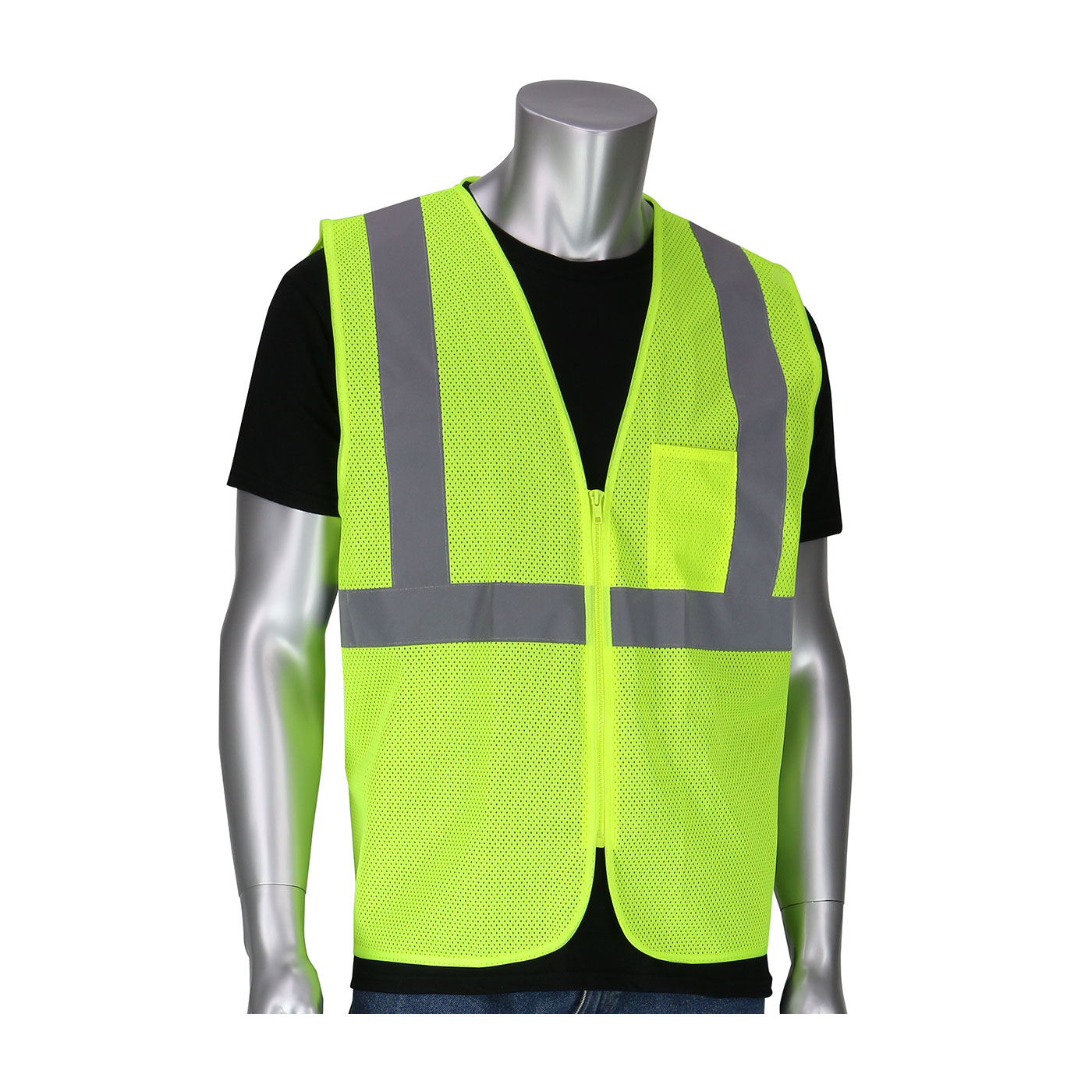 302-V200 PIP® ANSI Type R Class 2 Two Pocket Value Zipper Mesh Vest - Yellow