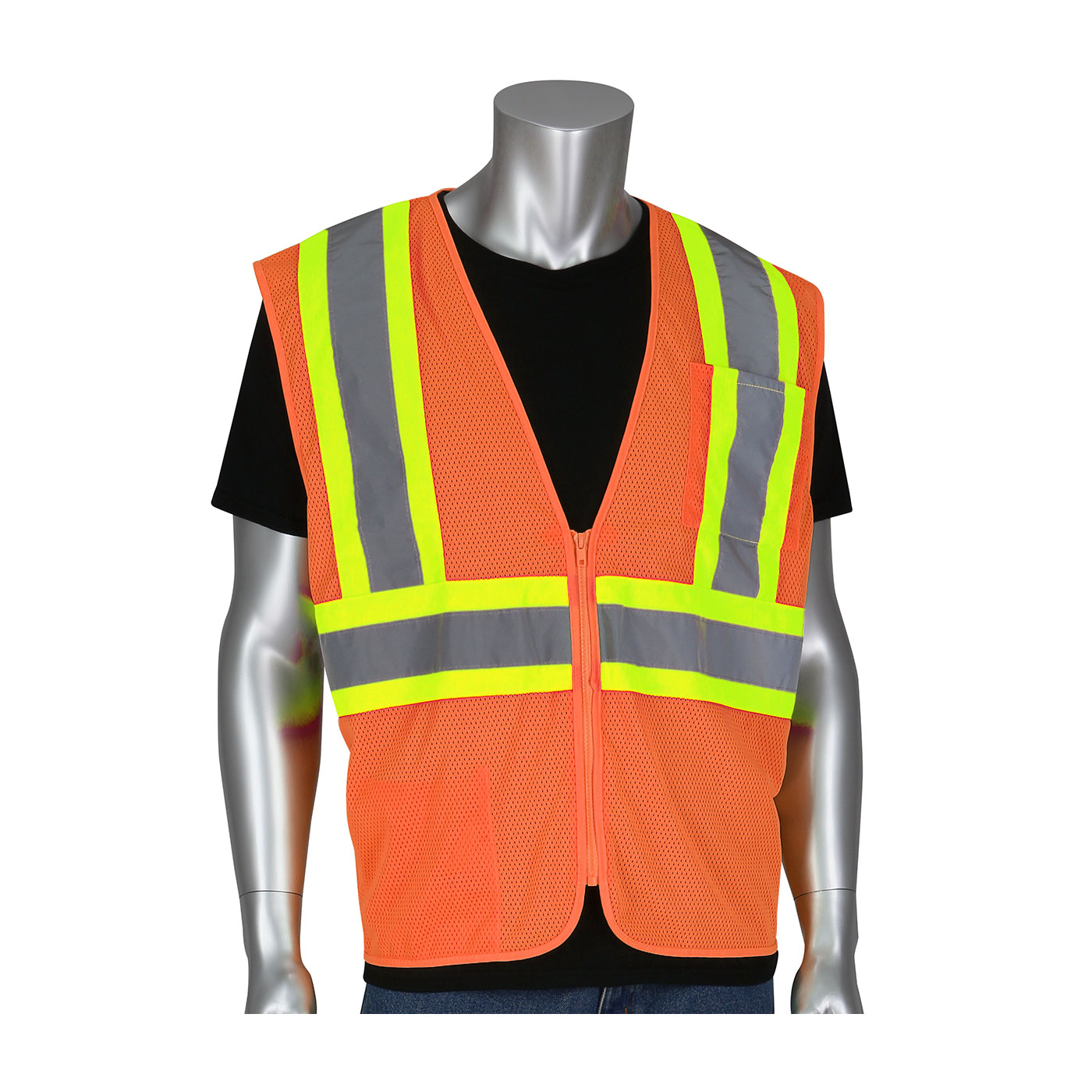 #305-MVZSE PIP® ANSI Type R Class 2 FR Treated Two-Tone Mesh Vest - Hi-Viz Orange
