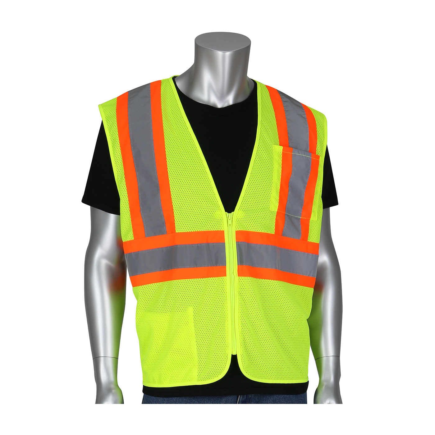 #305-MVZSE PIP® ANSI Type R Class 2 FR Treated Two-Tone Mesh Vest - Hi-Viz Yellow