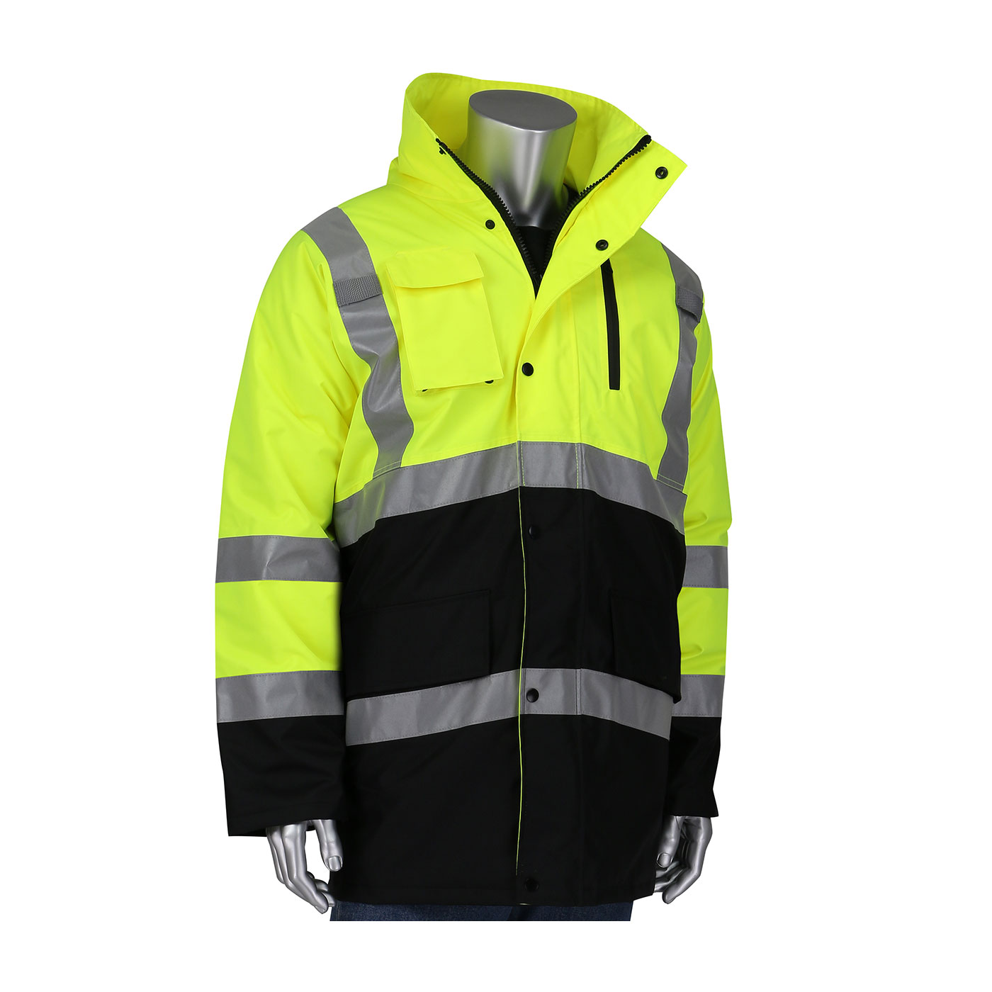 343-1750 PIP® Class 3 ANSI Type R Insulated Coat - Hi-Vis Yellow