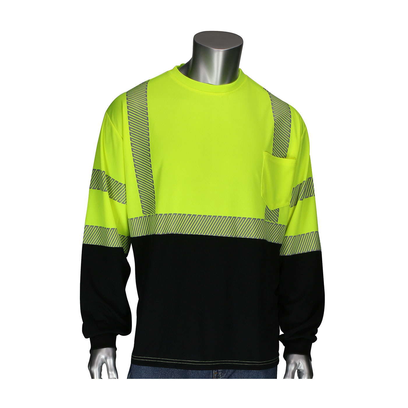 #312-1280B PIP® Class 3 Hi-Viz T-Shirts w/ Black Bottom, 2in Segmented Tape and Chest Pocket