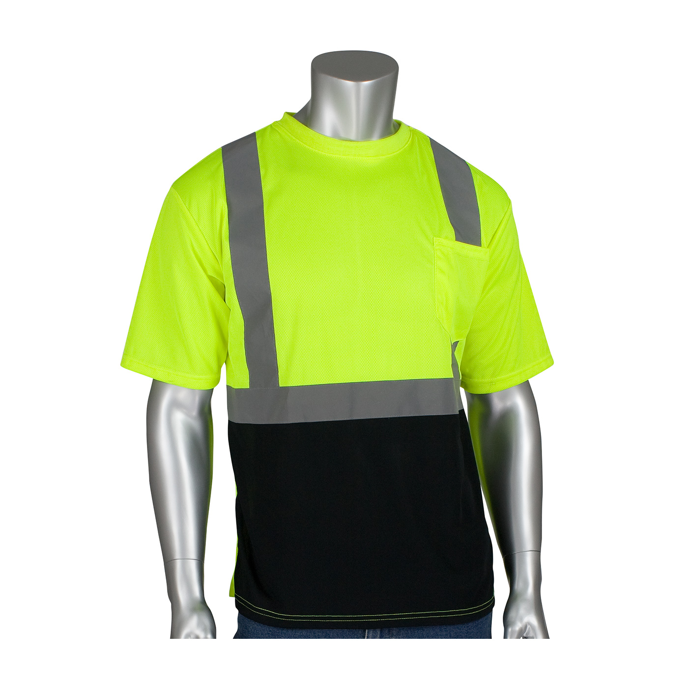 #312-1275B PIP® Class 2 Hi-Viz T-Shirts w/ Black Bottom and Chest Pocket