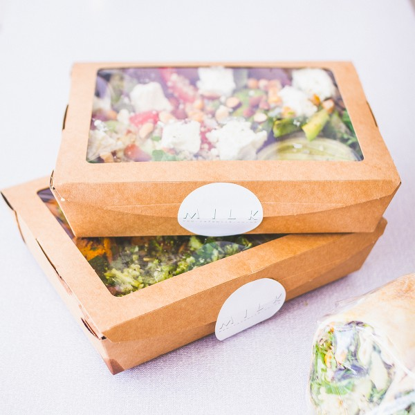 #01VWSALAD Vegware™ 32-ounce Compostable Kraft Window Food Boxes
