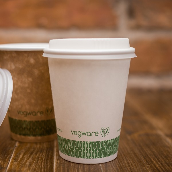LV-8G Vegware™ 79-Series Compostable 8-ounce Single Wall Classic White Hot Paper Cups