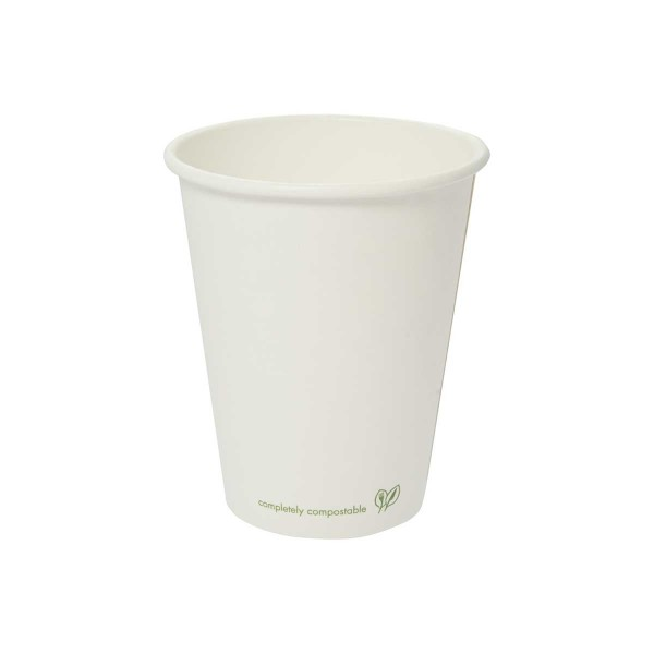 LV-8C Vegware™ Compostable 8-ounce White Single Wall Hot Cups