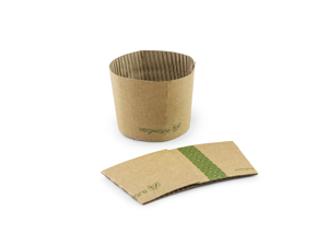 Q1 Vegware 79-Series Compostable Small Kraft Clutches fits 8-ounce hot cups
