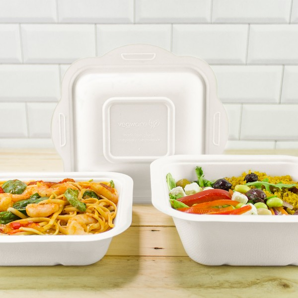 V4-GB32 Vegware Compostable Bagasse Gourmet Food Containers (32-ounce)