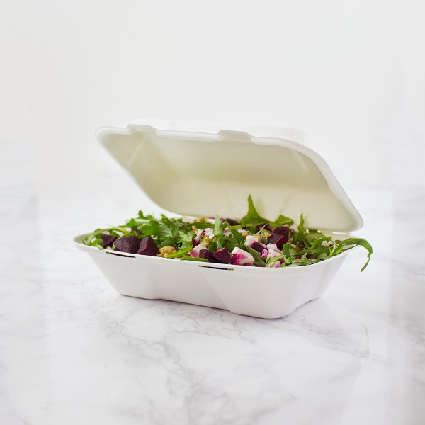VA-SH89 Vegware Compostable Bagasse Clamshell Take Out Boxes (6-inch x 9-inch)