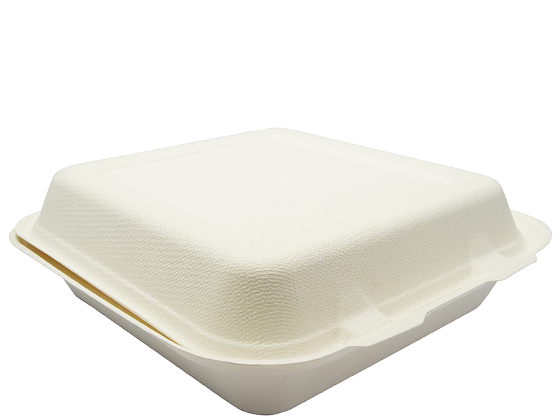 VB08 Vegware Compostable Bagasse 8-inch square bagasse lunch box