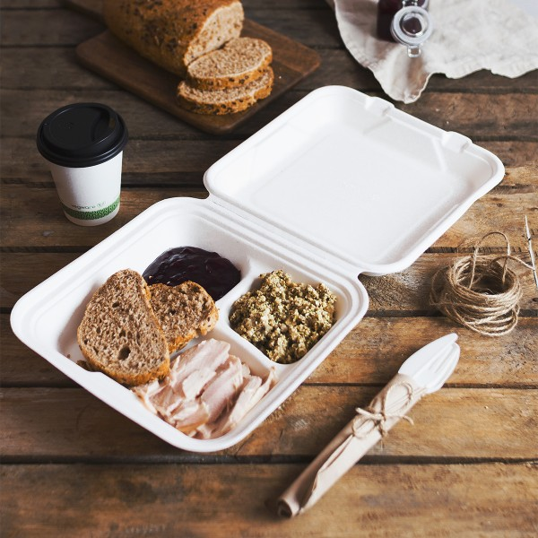 VB09-3 Vegware Compostable Bagasse 9-inch square 3-compartment bagasse lunch box