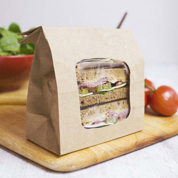#VBLOOM2 Vegware™ Compostable Kraft NatureFlex Window Bloomer Bags, 6 x 3 x 9in