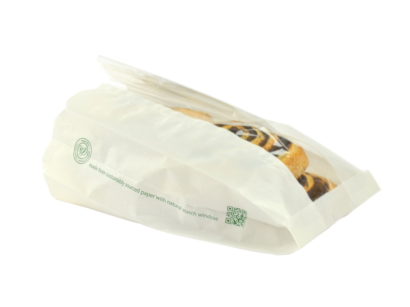 VGLW6 Vegware™ Compostable Glassine Window Bags (6-inch x 2.5-inch x 10-inch)