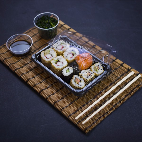 Vegware™ Compostable PLA Black Sushi Tray and Lid Combo, (7 x 5 x 1.5in)
