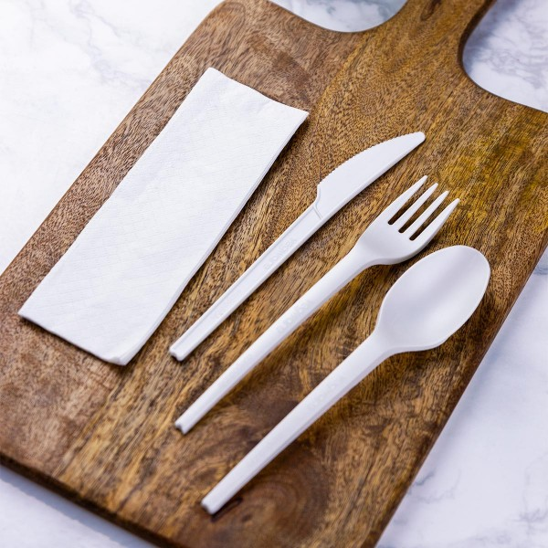 VW-KFSWN Vegware™ compostable CPLA Cutlery Kits include knife, fork, spoon and white napkin