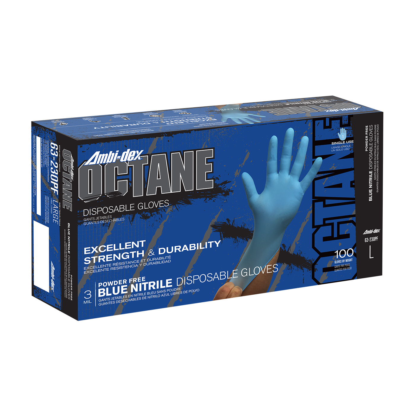 #63-230PF Ambi-dex® Octane Disposable Nitrile Glove, Powder Free with Textured Grip - 3 mil