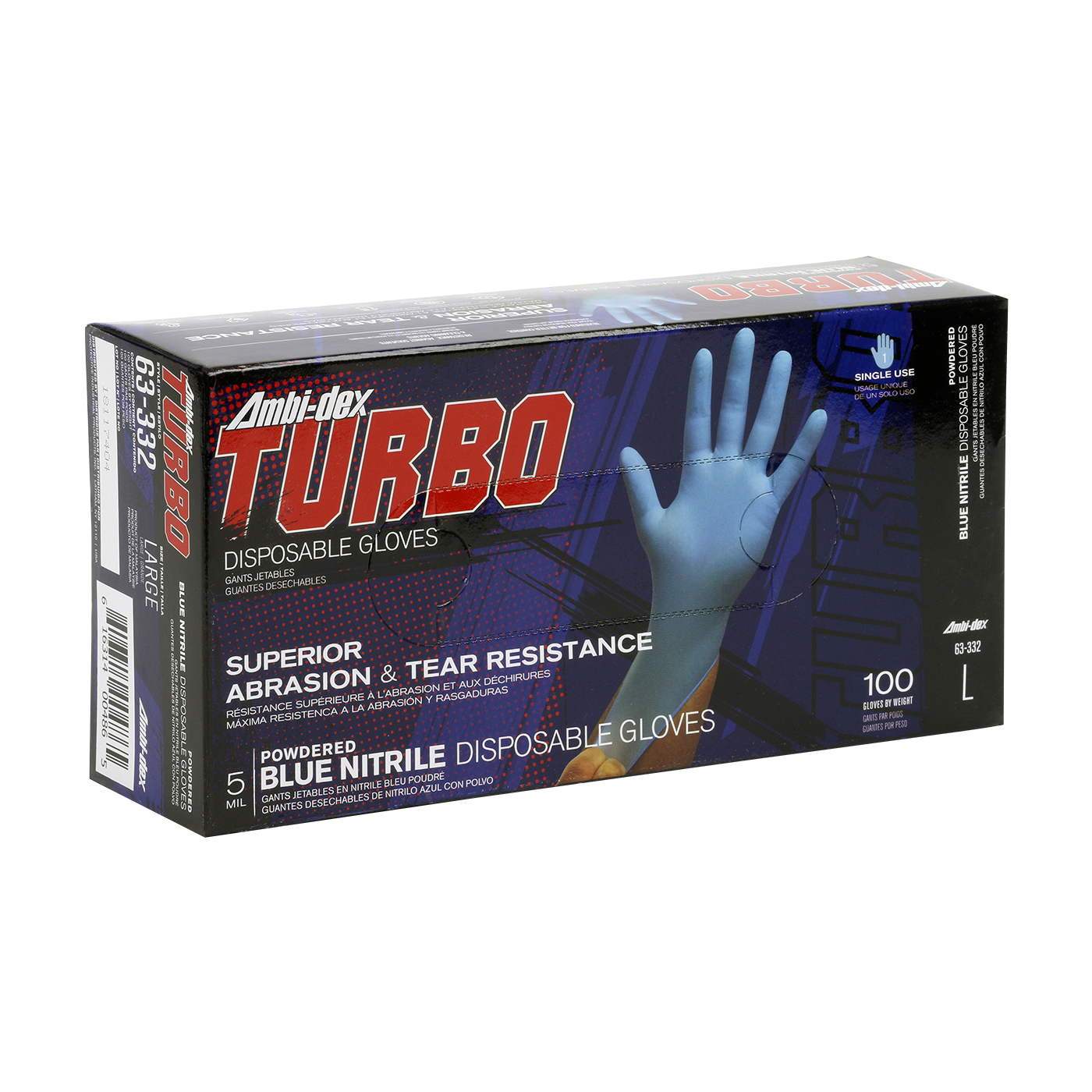 #63-332 PIP 5-Mil Ambi-dex® Turbo Industrial Disposable Powdered Nitrile Gloves