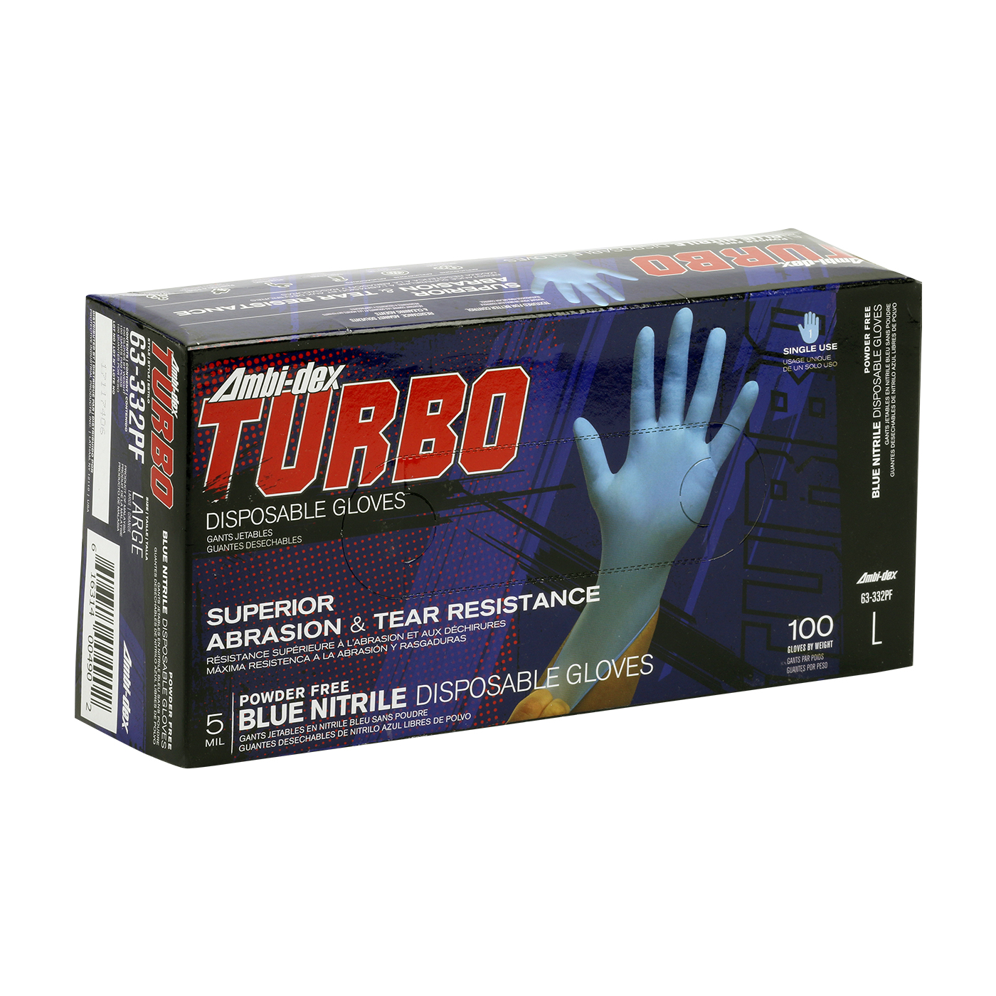 #63-332PF PIP Ambi-dex® Turbo Disposable Nitrile Glove, Powder Free with Textured Grip - 5 mil