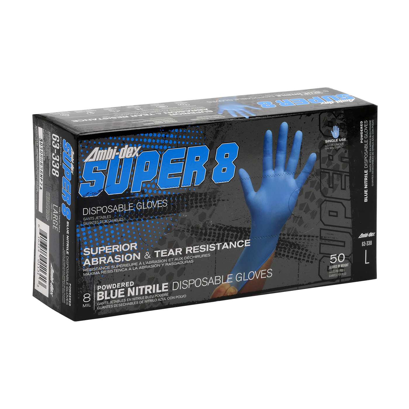 #63-338 PIP 8-Mil Ambi-dex® Super 8 Industrial Disposable Powdered Nitrile Gloves