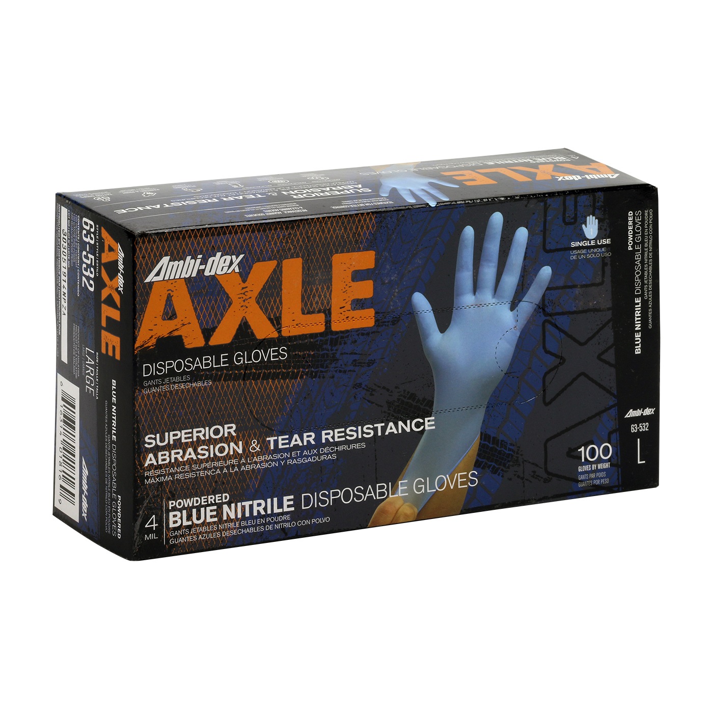 #63-532 PIP® Ambi-dex® Axle Disposable Nitrile Glove, Powdered with Textured Grip - 4 mil