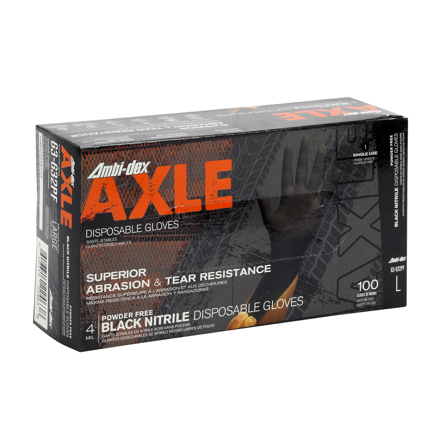 #63-632PF Ambi-dex® Axle Disposable Black Nitrile Glove, Powder-Free with Textured Grip - 4 mil