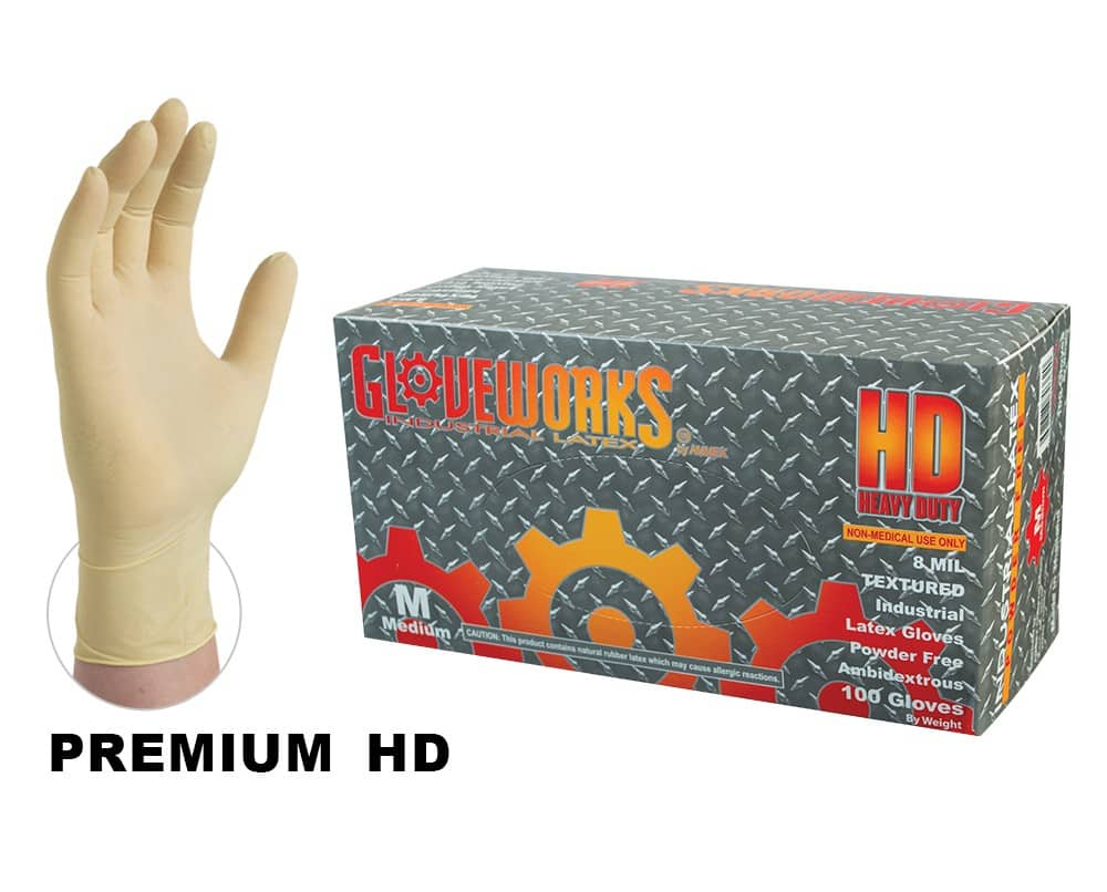 Ammex® Gloveworks® HD Latex Industrial Gloves