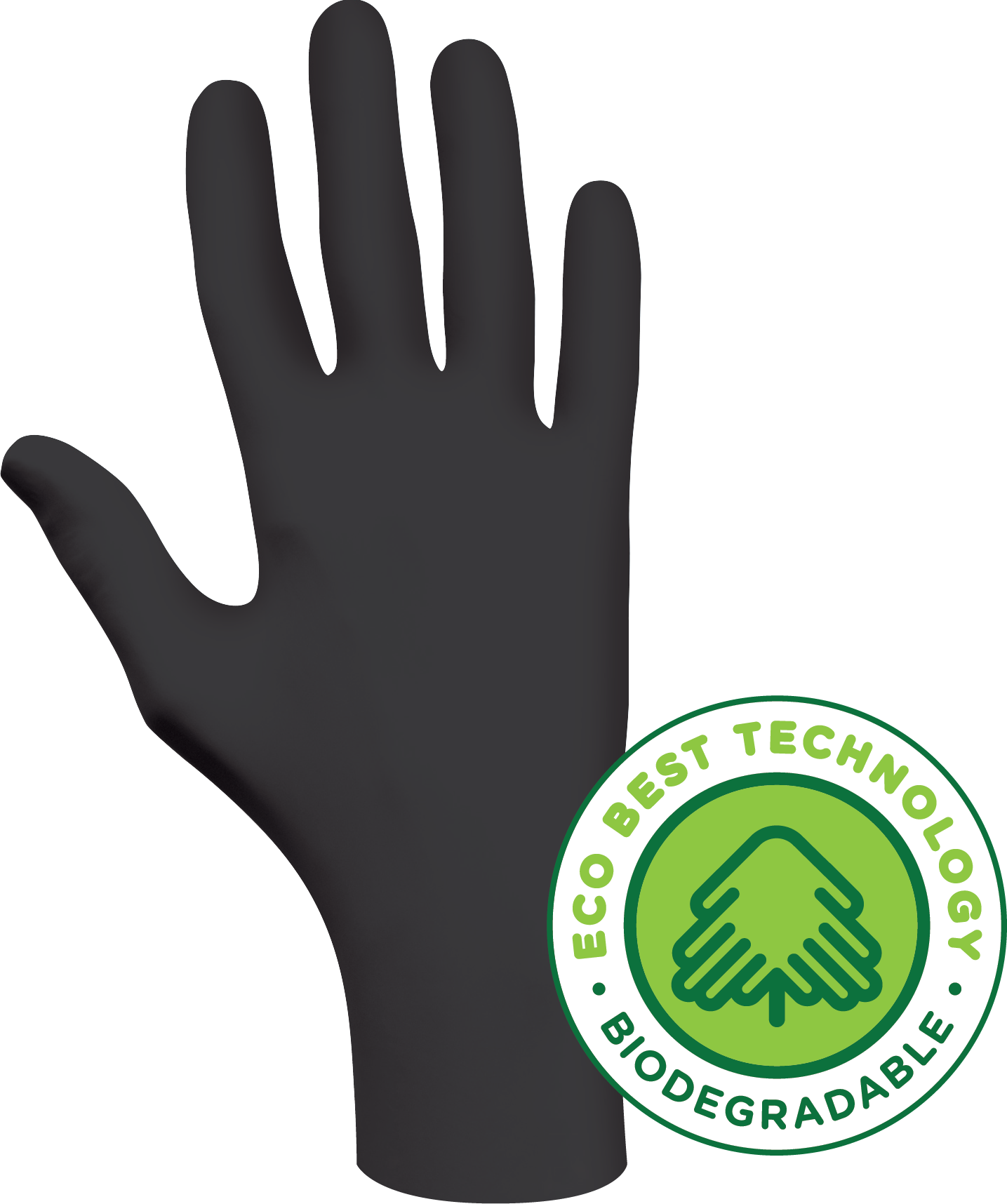 6112PF Showa® N-DEX™ Biodegradable  Single-Use Black Powder-Free Nitrile Gloves