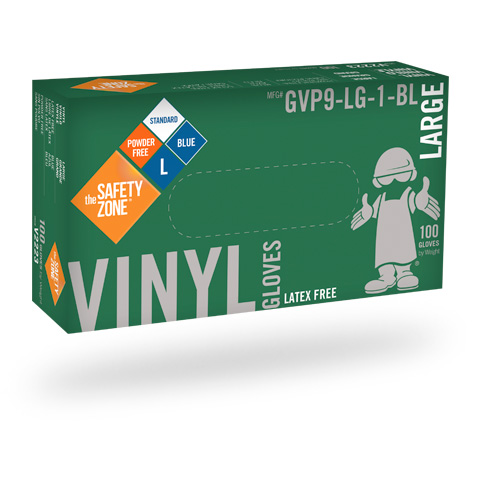 #GVNP-SIZE-1 Safety Zone Disposable 3.6 mil Blue Powder-Free Vinyl Gloves