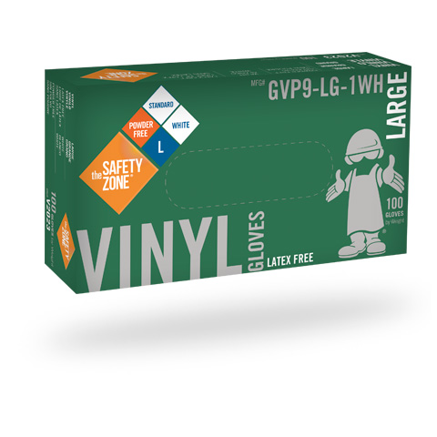 #88-GVP9-1WH Safety Zone Disposable 4.0 mil White Powder-Free Vinyl Gloves