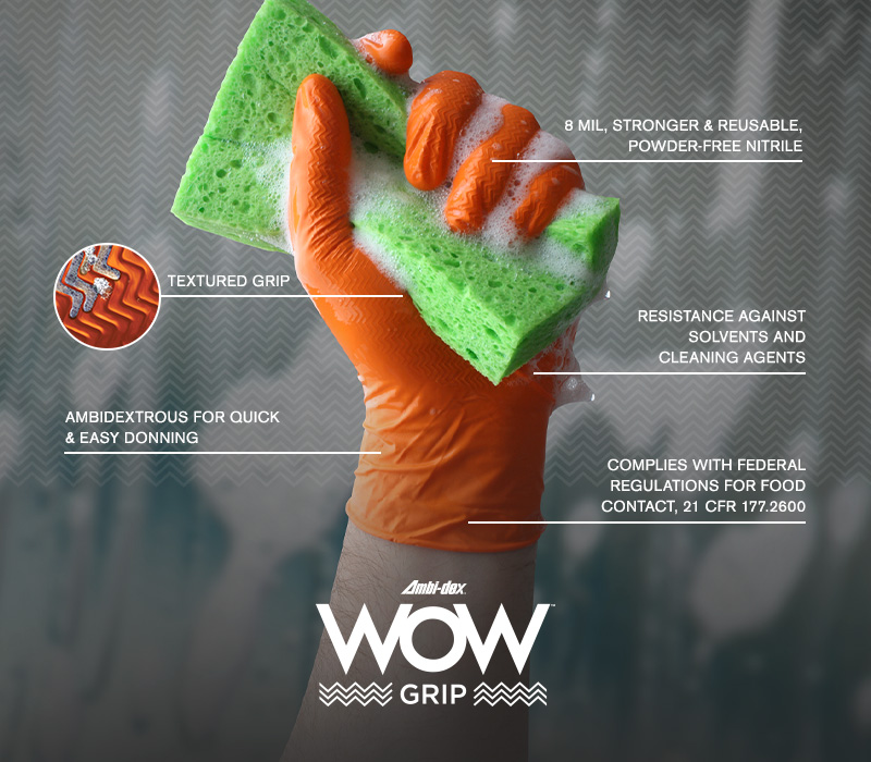 Ambi-dex® WOW™ Grip Disposable Nitrile Gloves