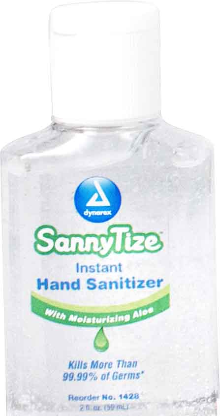 1428  Dynarex Sannytize Instant Hand Sanitizer contains 62% Ethyl Alcohol and come packed in a 2-ounce bottle