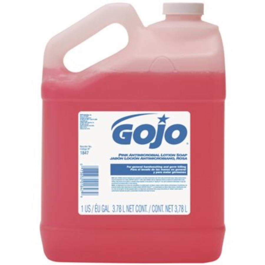 #1847-04 GOJO 1 Gallon Pink Floral Antimicrobial Lotion Hand Soap