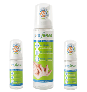 Prefense™ Alcohol-Free Foam Hand Sanitizer Starter Kit Includes: (1) 8oz scented bottle for your home and (2) 1.5oz scented bottles
