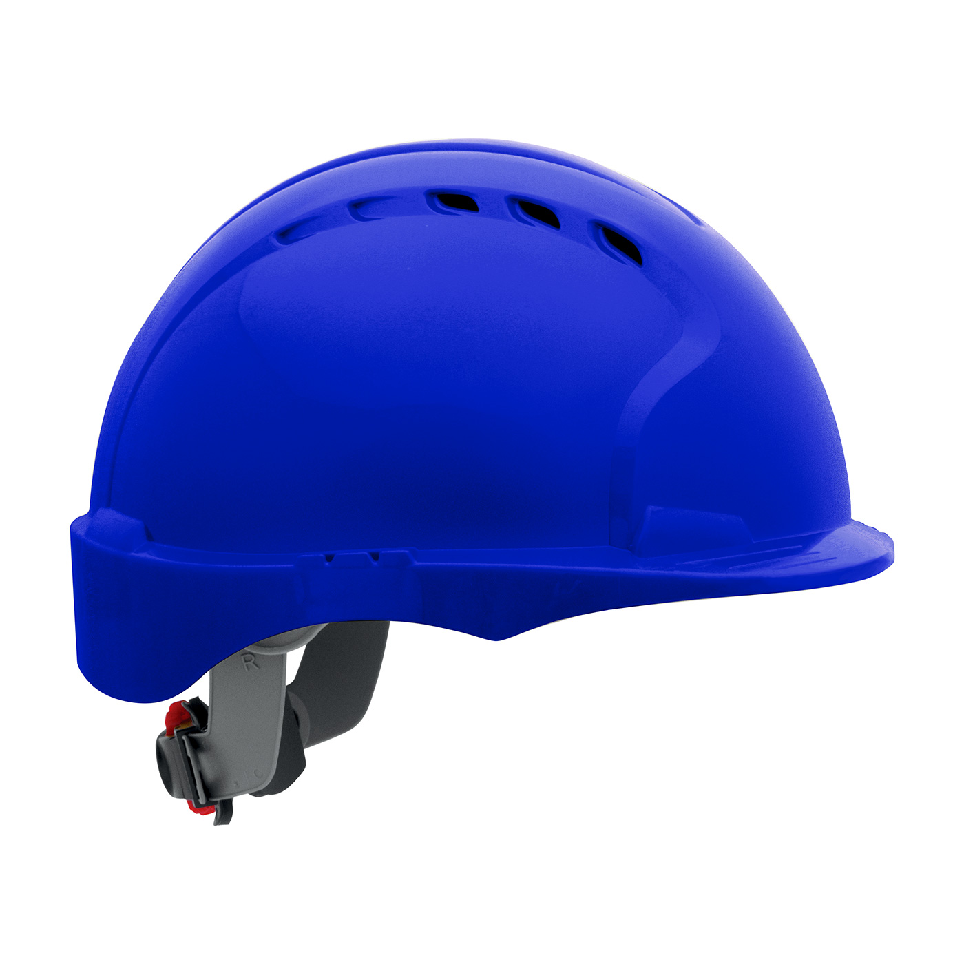280-EV6151SV PIP® Evolution® Deluxe 6151 Vented, Short Brim Hard Hat with HDPE Shell, 6-Point Polyester Suspension and Wheel Ratchet Adjustment - Blue