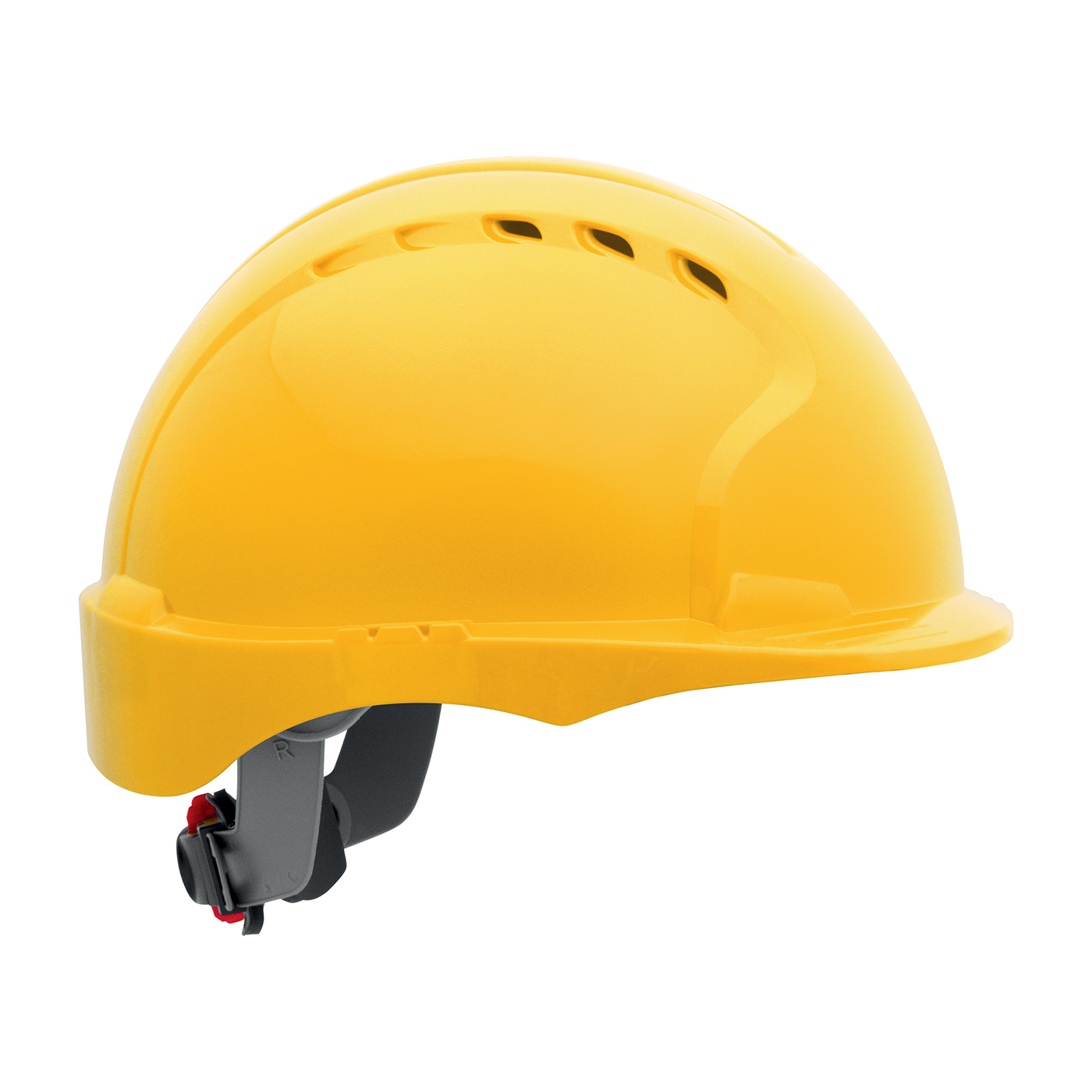 280-EV6151SV PIP® Evolution® Deluxe 6151 Vented, Short Brim Hard Hat with HDPE Shell, 6-Point Polyester Suspension and Wheel Ratchet Adjustment - Yellow