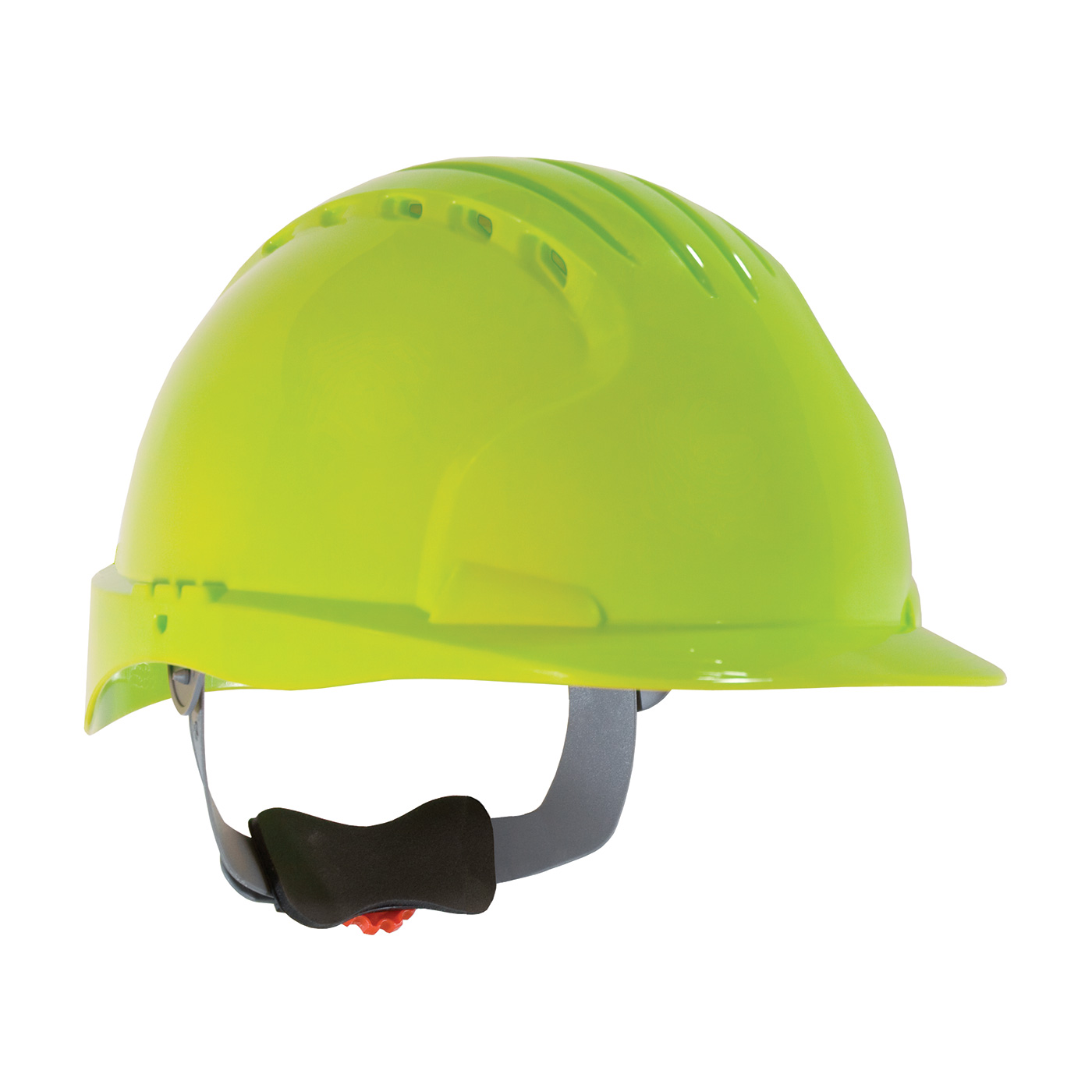 280-EV6151V PIP® JSP® Evolution® Deluxe 6151 Standard Brim, Vented Hard Hat with HDPE Shell, 6-Point Polyester Suspension and Wheel Ratchet Adjustment - Lime Yellow
