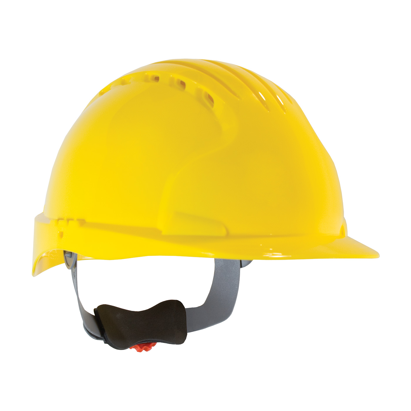 280-EV6151V PIP® JSP® Evolution® Deluxe 6151 Standard Brim, Vented Hard Hat with HDPE Shell, 6-Point Polyester Suspension and Wheel Ratchet Adjustment - Yellow