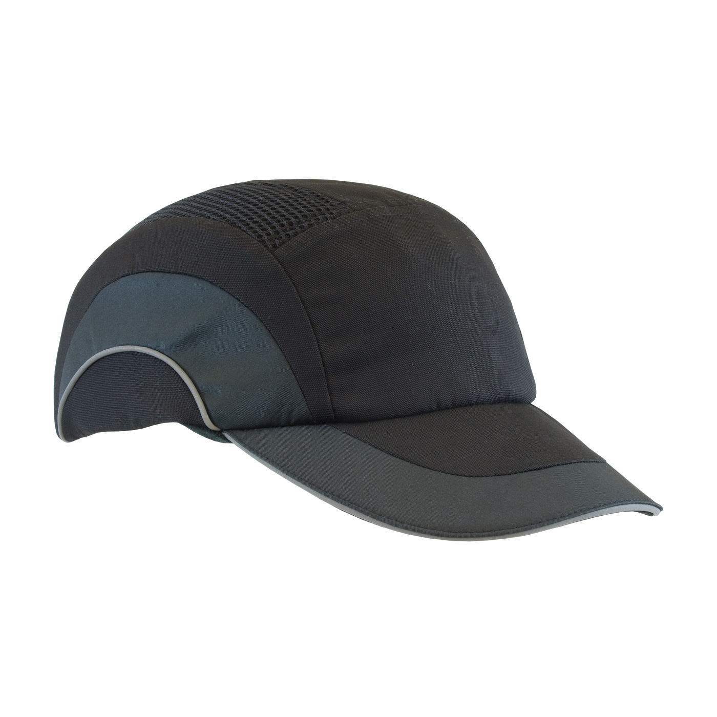 282-ABR170 PIP® Low-Profile HardCap A1+™ Baseball Style Bump Cap with Reflective Piping. Black/Black