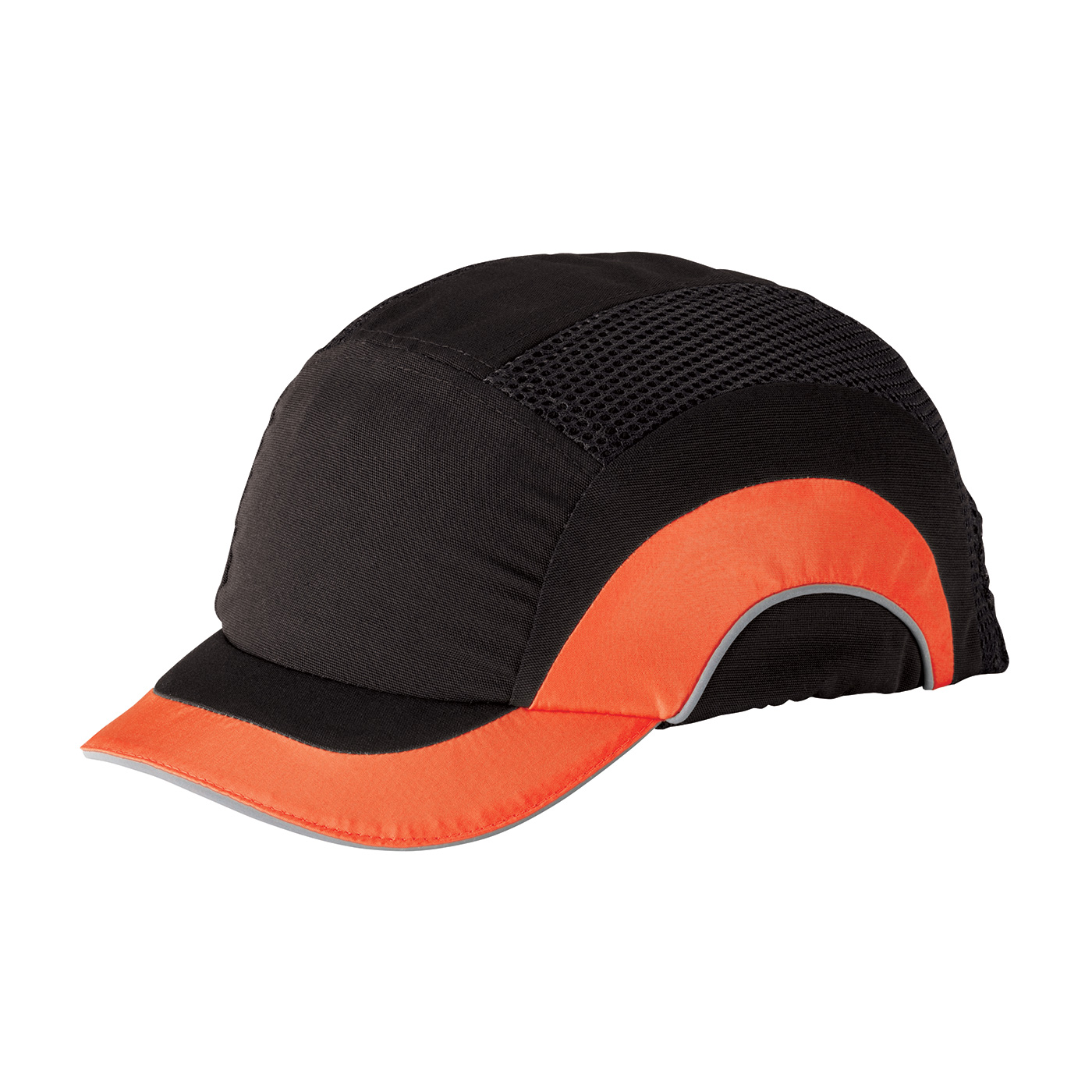 HardCap A1+™ Baseball Style Bump Cap with HDPE Protective Liner and Adjustable Back - Short Brim - Black/Hi-Viz Orange