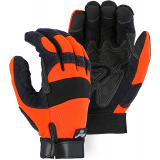 2139HO Majestic® Hi-Viz Orange Armor Skin Mechanics Glove with PVC Double Palm and Knit Back