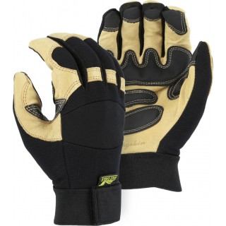 2160 Majestic® Black Eagle Mechanics Glove with Pigskin Palm and Grip Patches