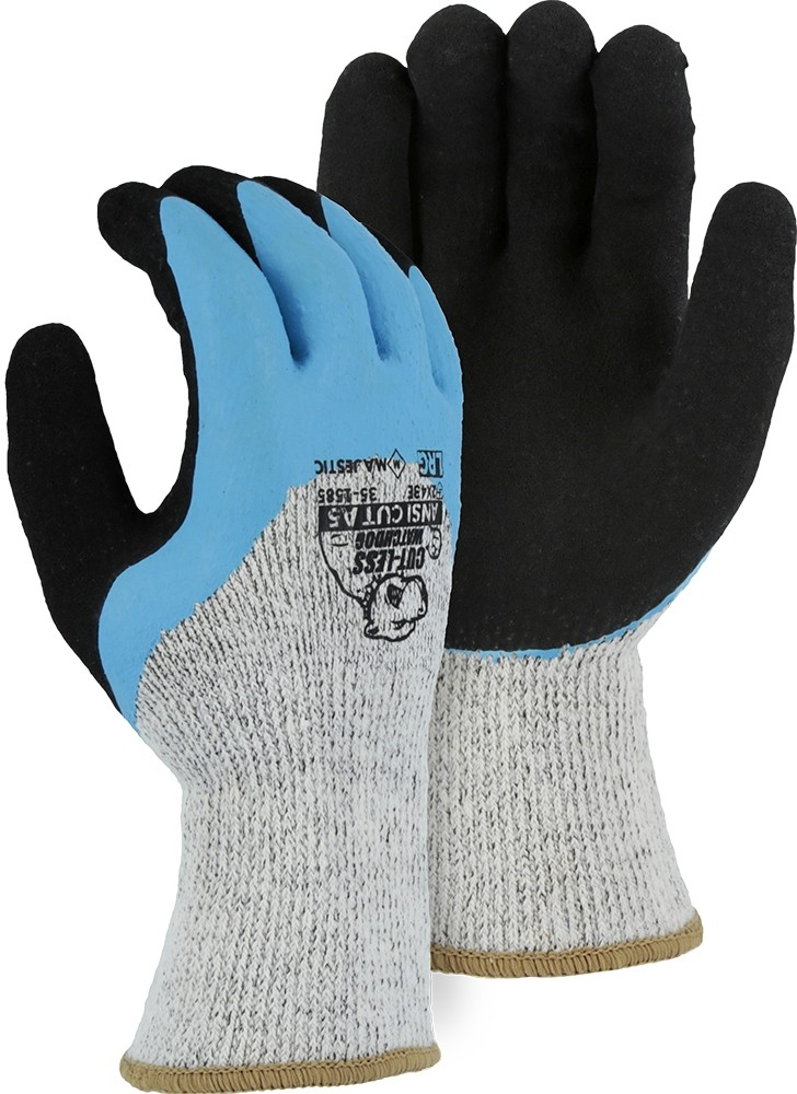 35-1585 Majestic® Glove Winter Lined Cut-Less Watchdog® Glove with Sandy Latex Palm over 3/4 Flat Latex Dip