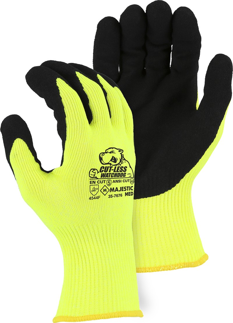 35-7676 Majestic® Glove Hi-Viz Yellow A6 Cut-Less Watchdog® Gloves with Sandy Nitrile Palms