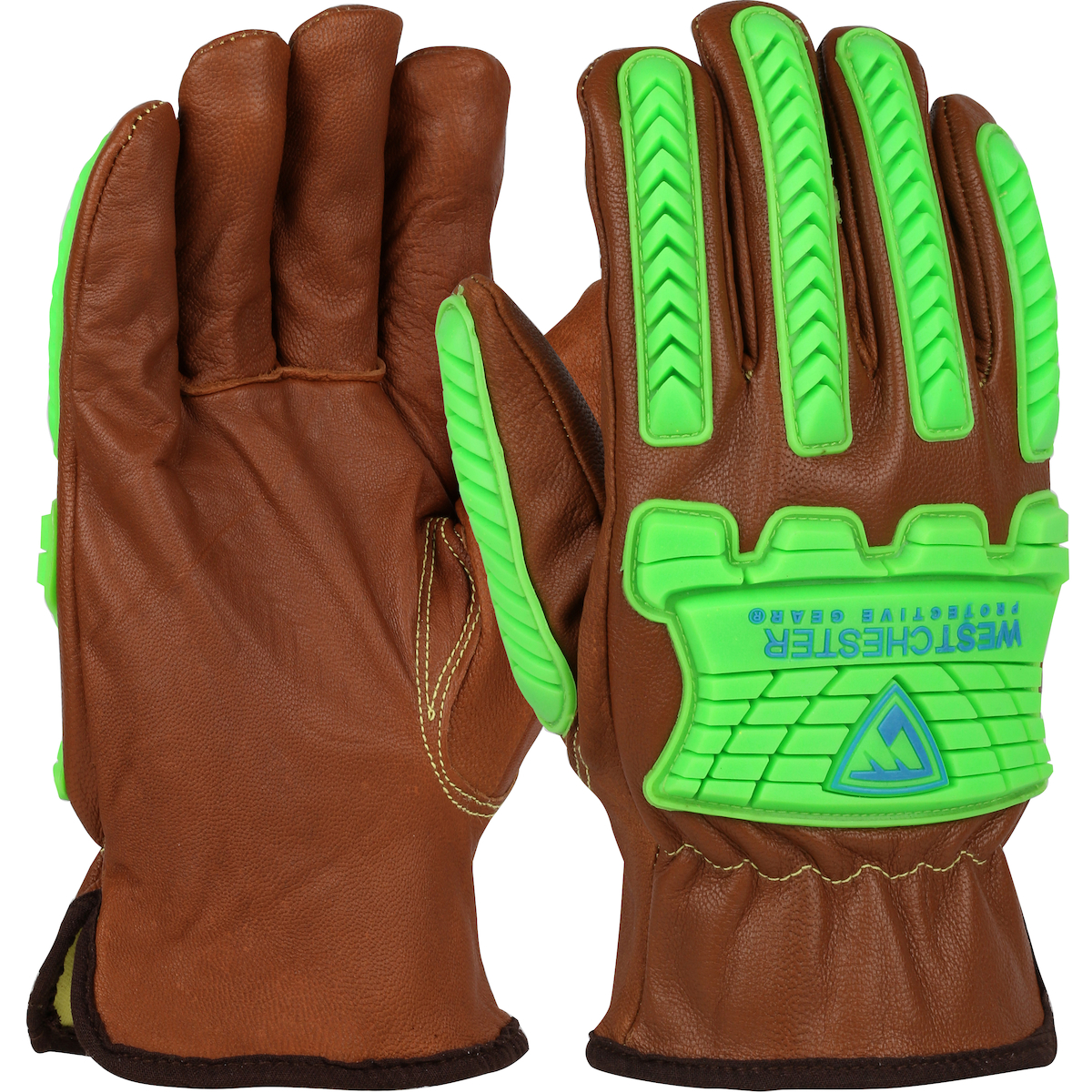 KS993KOAB PIP® West Chester® Top Grain Goatskin Impact Leather Drivers Glove with Para-Aramid Lining and Keystone Thumb feature Oil Armor™