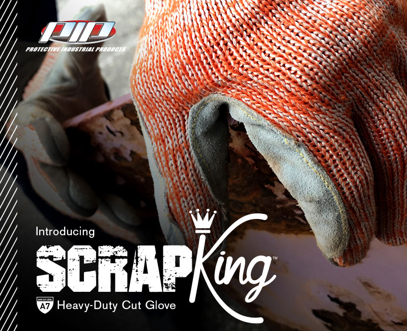 Scrap King™  Seamless Knit PolyKor Engineered Yarn Glove with Split Cowhide Leather Palm