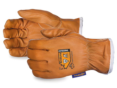 Superior Glove® Endura® Kevlar ® -Lined Waterstop ™ / Oilbloc ™ Goat-Grain Arc-Flash Drivers Gloves