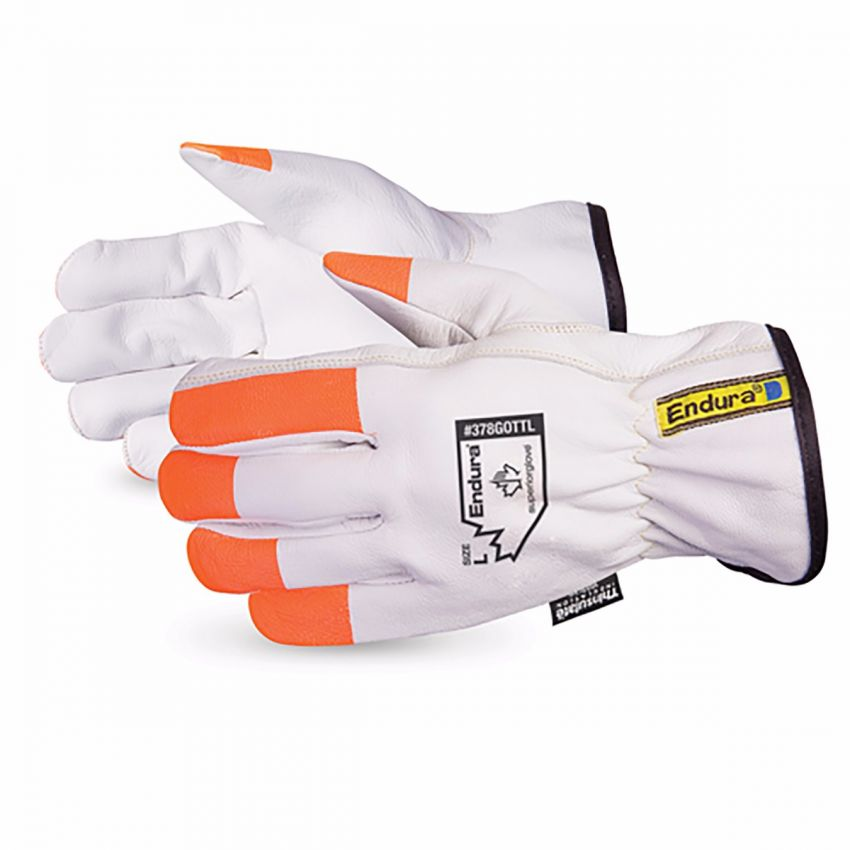 #378GOT Superior Glove®  Endura® White Goatgrain Winter Gloves w/ Hi-Viz Fingertips