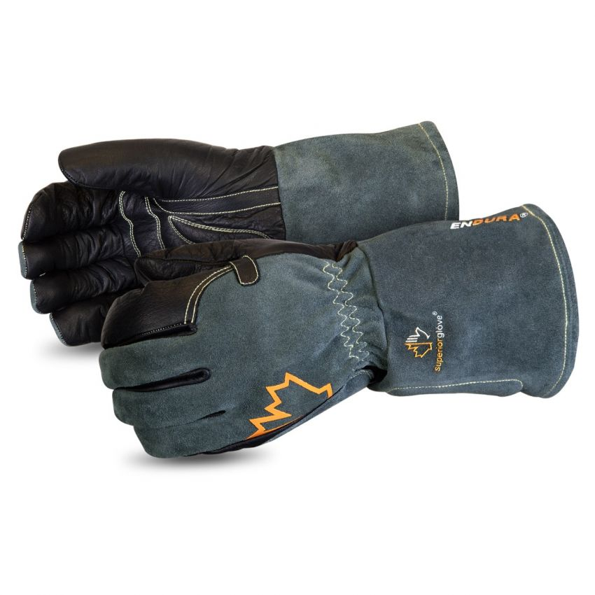 #398KGLBG Superior Glove® Endura® Premium Black Cowgrain Cut-Resistant Mig Welding Gloves