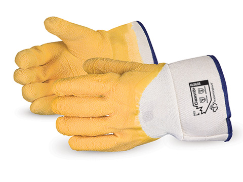 L868B Superior Glove® Chemstop™ Wrinkle Finish Jersey Liner Latex Palm Coated Cut & Puncture Resistant Work Gloves